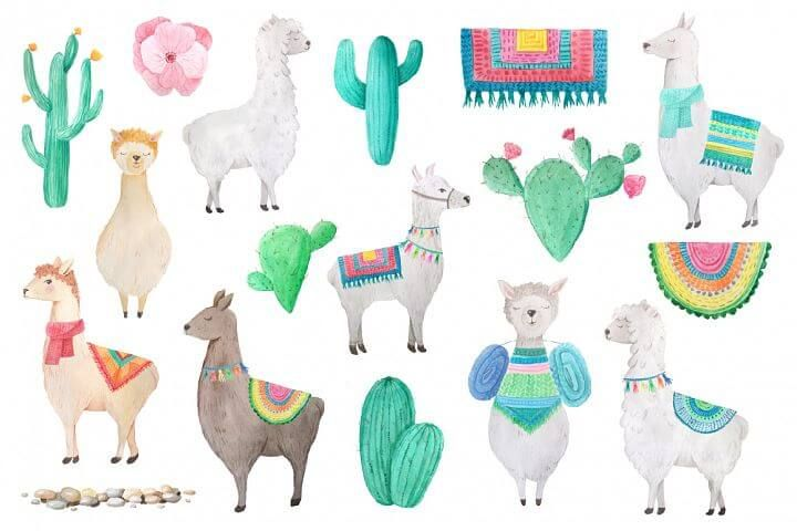 free watercolor llama illustrations bundle.