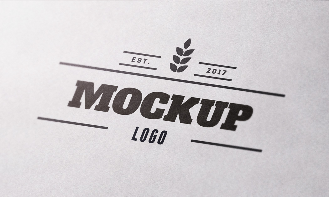 Close Up Textured Paper Logo MockUp.