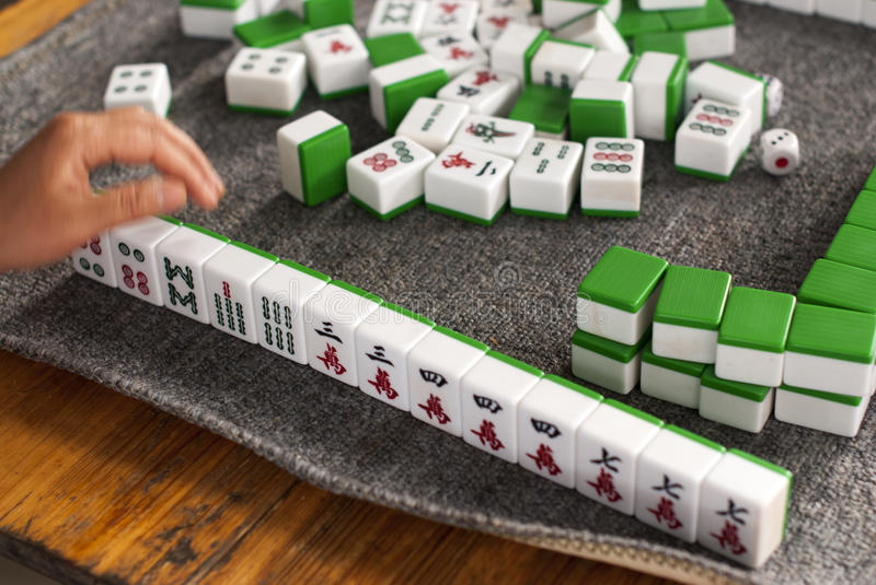 Playing Mahjong Stock Illustrations.