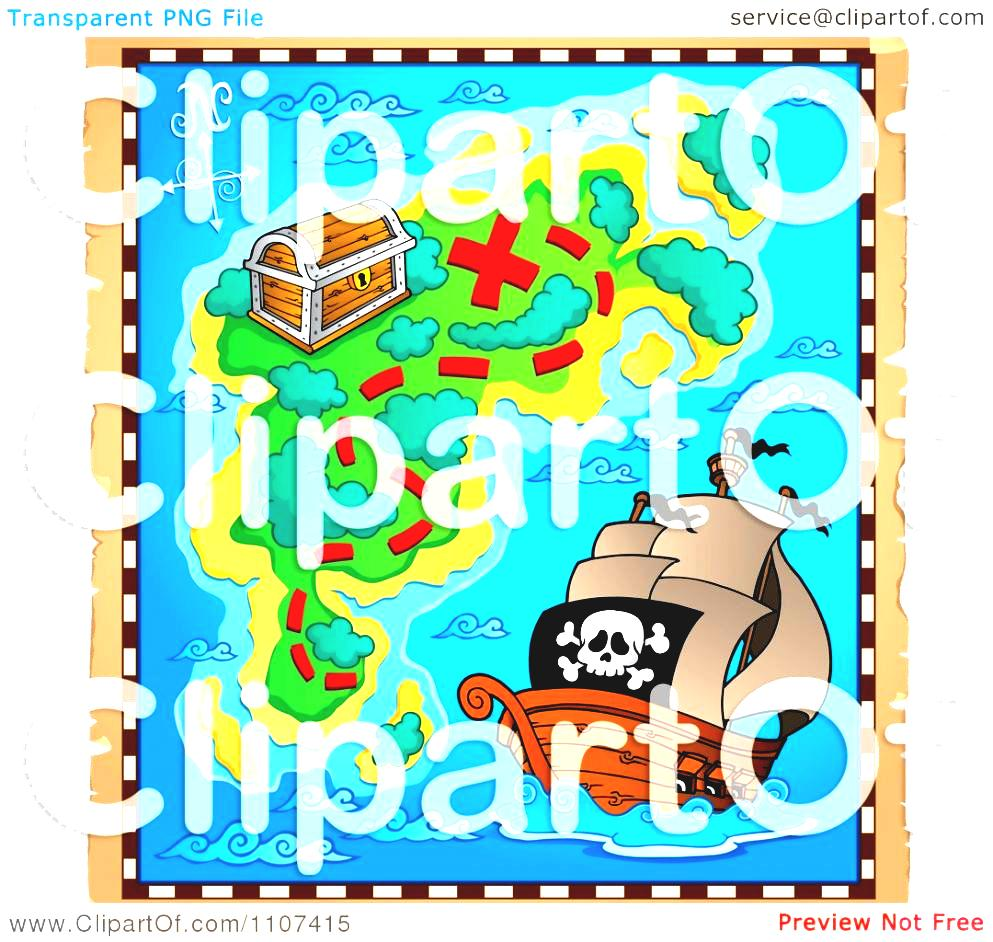 Treasure Map Clipart Pirate On Aged Parchment Royalty Free Png.