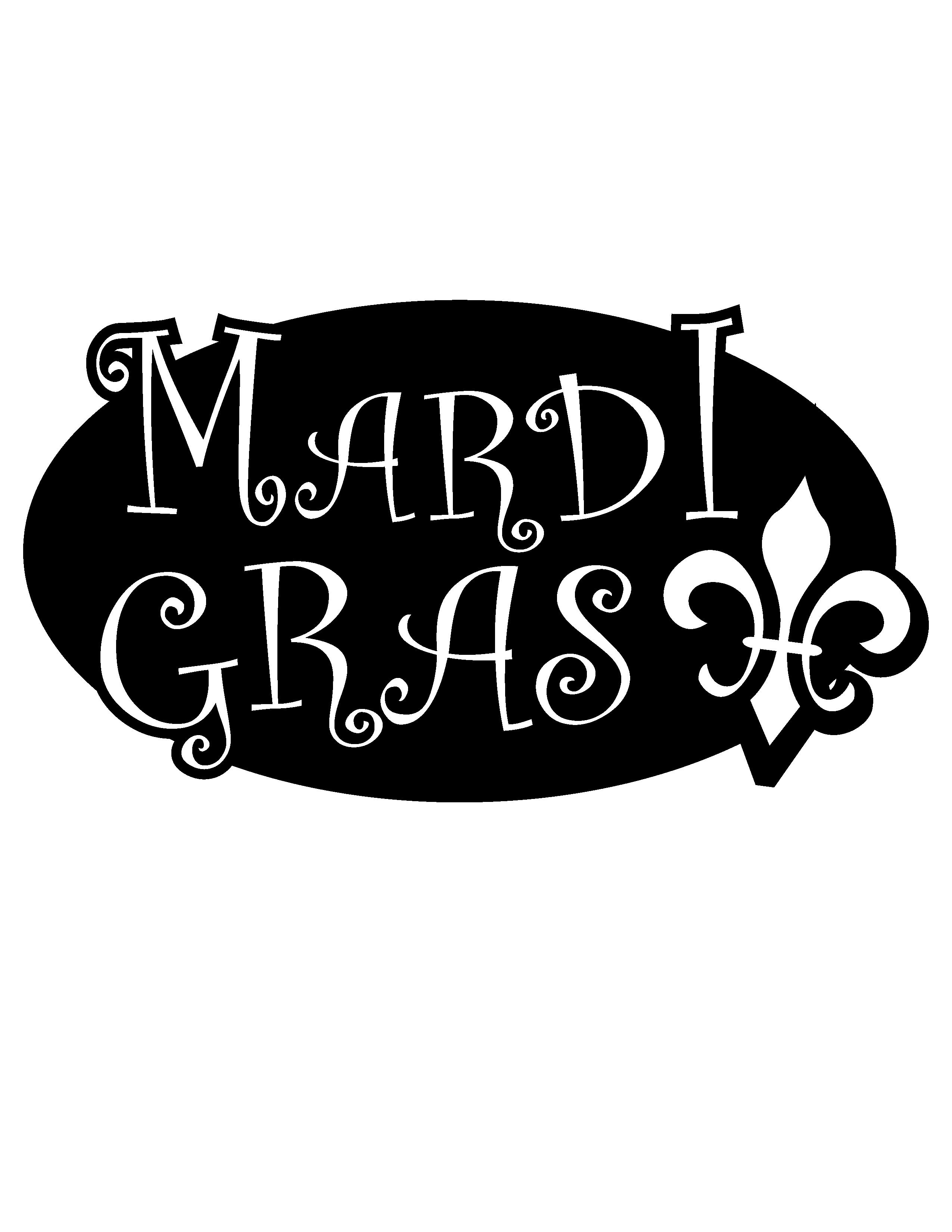 Mardi Gras Black and White Outline Clip Art.