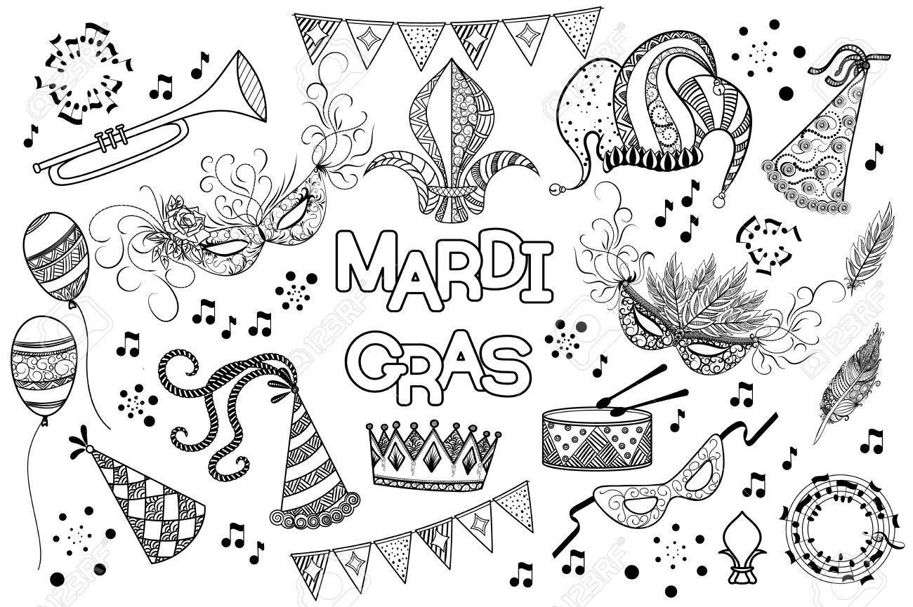 Mardi Gras or Shrove Tuesday black and white design element set.