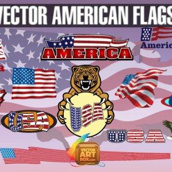 50+ USA flags Vectors.