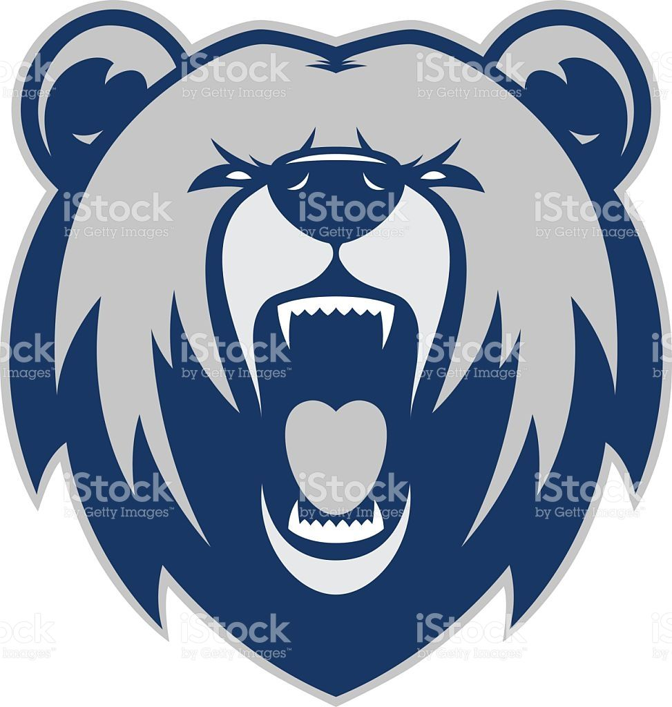 Clipart picture of a bear head cartoon mascot logo character.