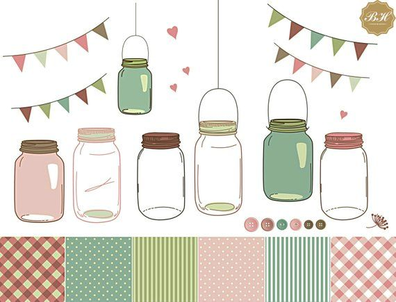 Mason Jar Clipart, Mason Jar Clip Art, Wedding Clipart.