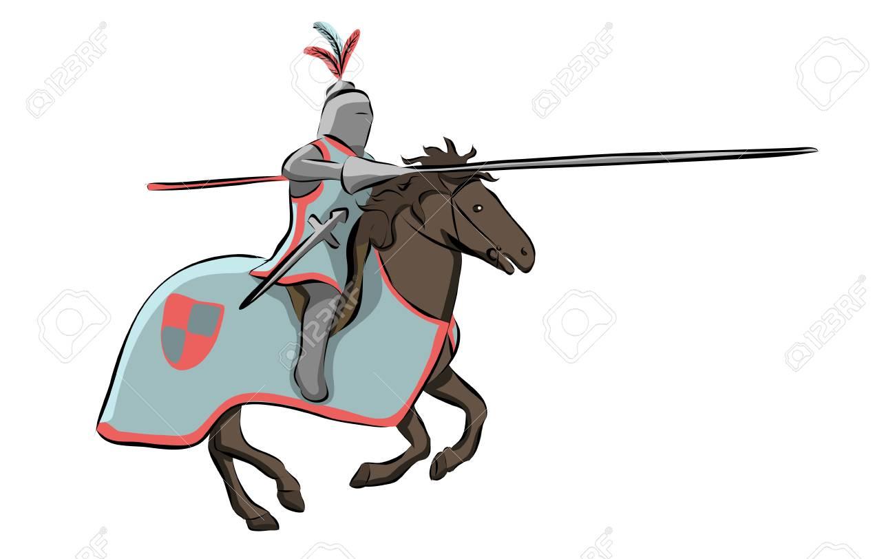 Knight at Medieval Knights Tournament vector illustration..