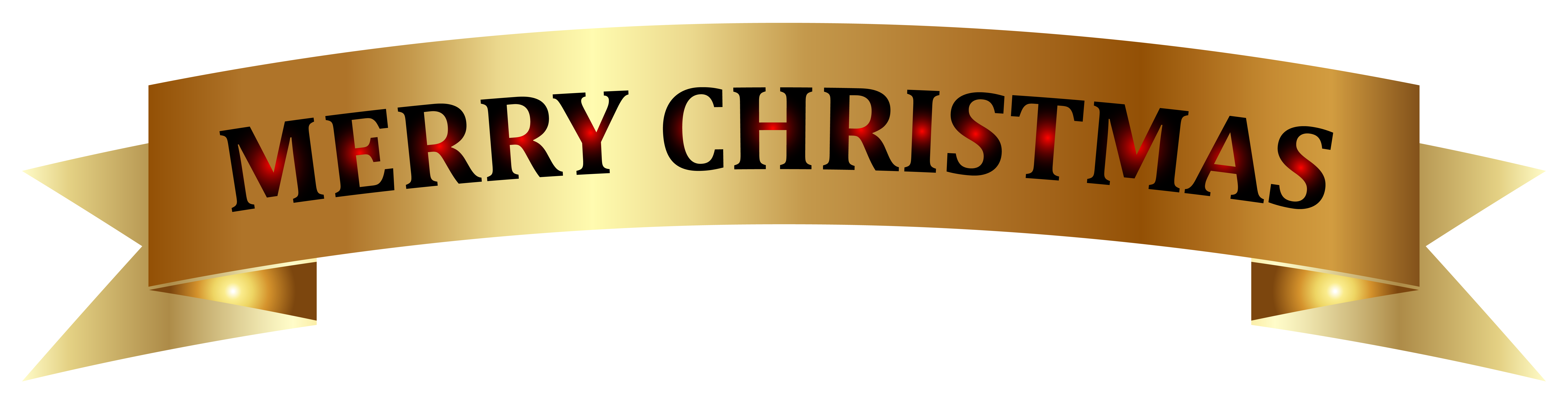 Golden Merry Christmas Banner PNG Clip.