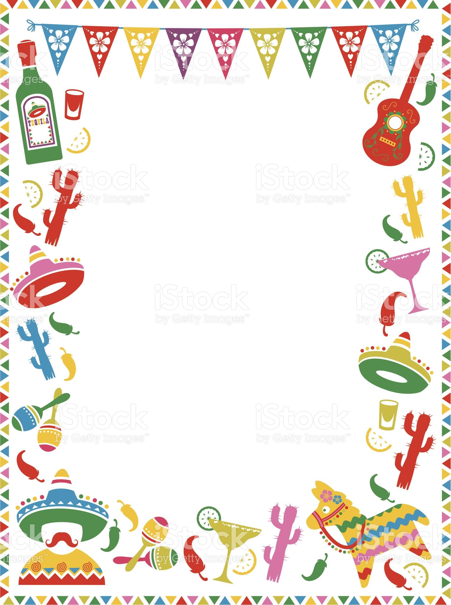 A Mexican themed border. Ideal for menus or party invites.