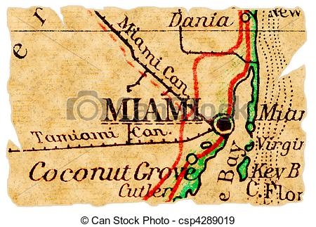 Stock Illustration of Miami old map.