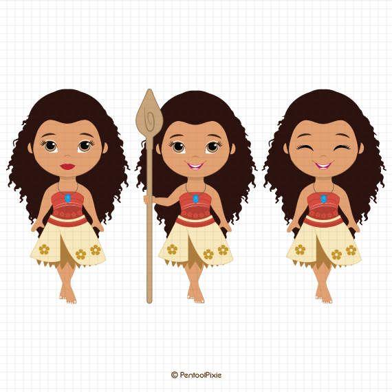 Moana clipart, Polynesian Princess clipart, Fairytale.