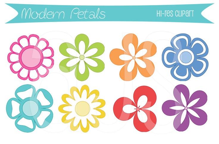 3 Petal Flowers Clipart.