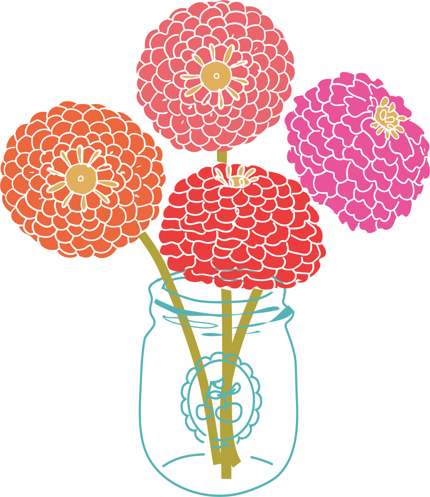 Free Modern Flower Clipart.