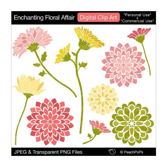 flowers clip art digital clip art modern blooms blossoms.