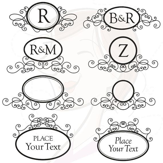 Oval Monogram Frames Digital Swirls Clip Art.