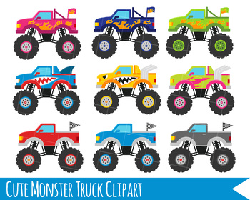 Monster Truck Clipart, Monster Trucks, Trucks clipart, Cute trucks.