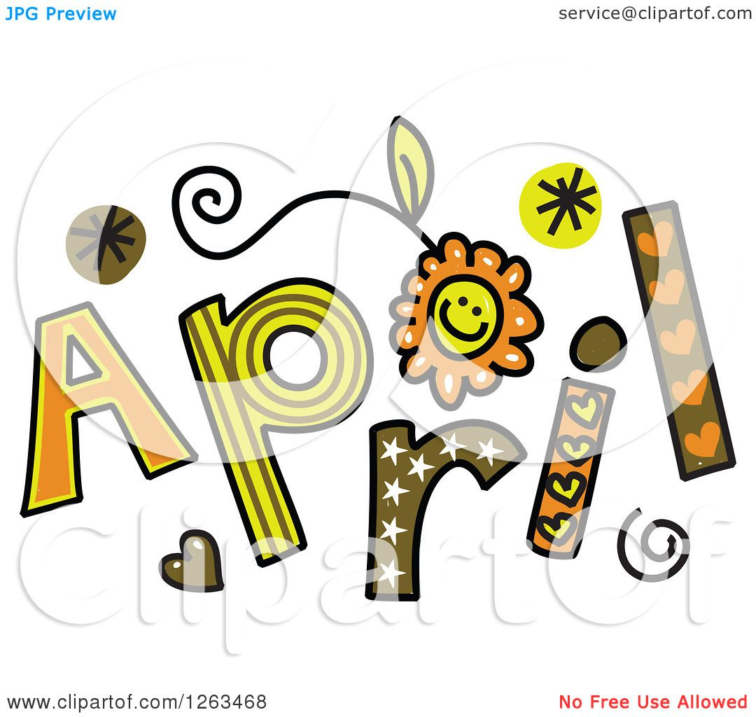 Clipart of Colorful Sketched Month of April Text.