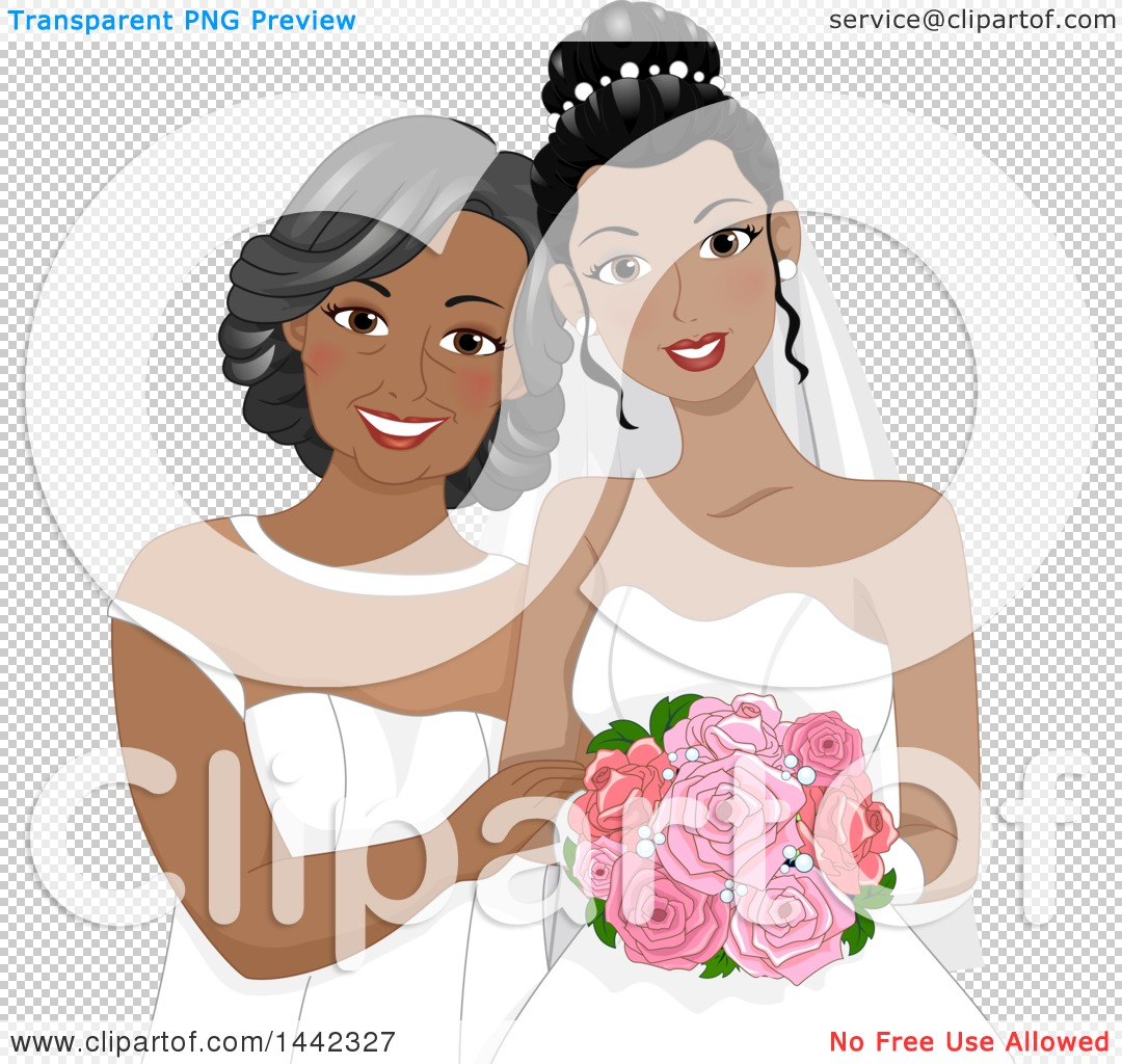 Clipart of a Mother of the Bride and Her Daughter Posing for a.