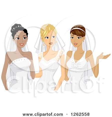 Clipart Illustration of a Happy Bride And Groom Posing For.