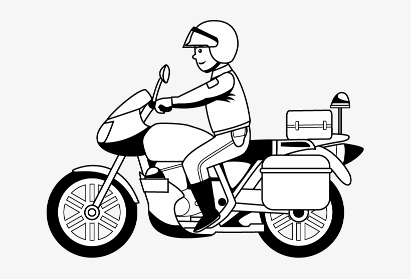 Motorcycle Black And White Police Motorcycle Clipart.