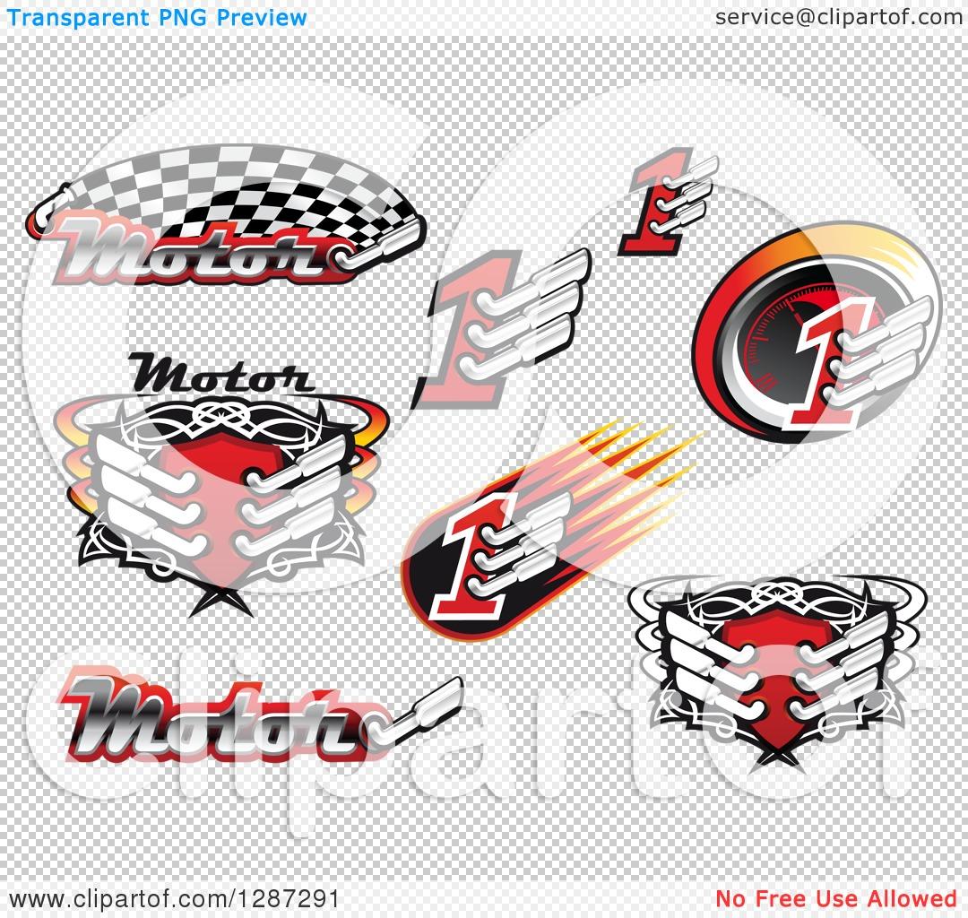 Clipart of Motorsport Racing Muffler Designs.