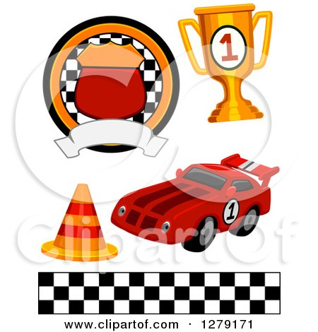 Clipart of a Motorsports Racing Badge, Trophy, Traffic Cone, Race.