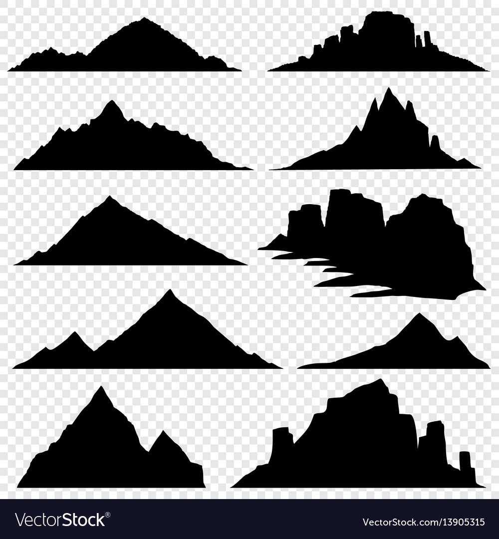 Mountain ranges black silhouettes set.