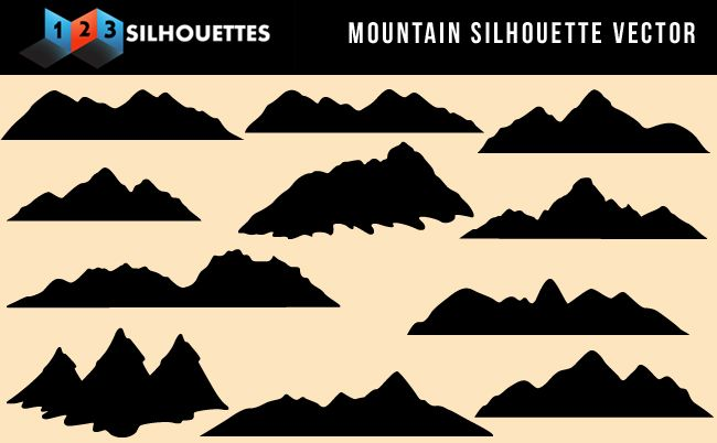 Beautiful Mountain Vector Silhouette Nature Gallery Free.