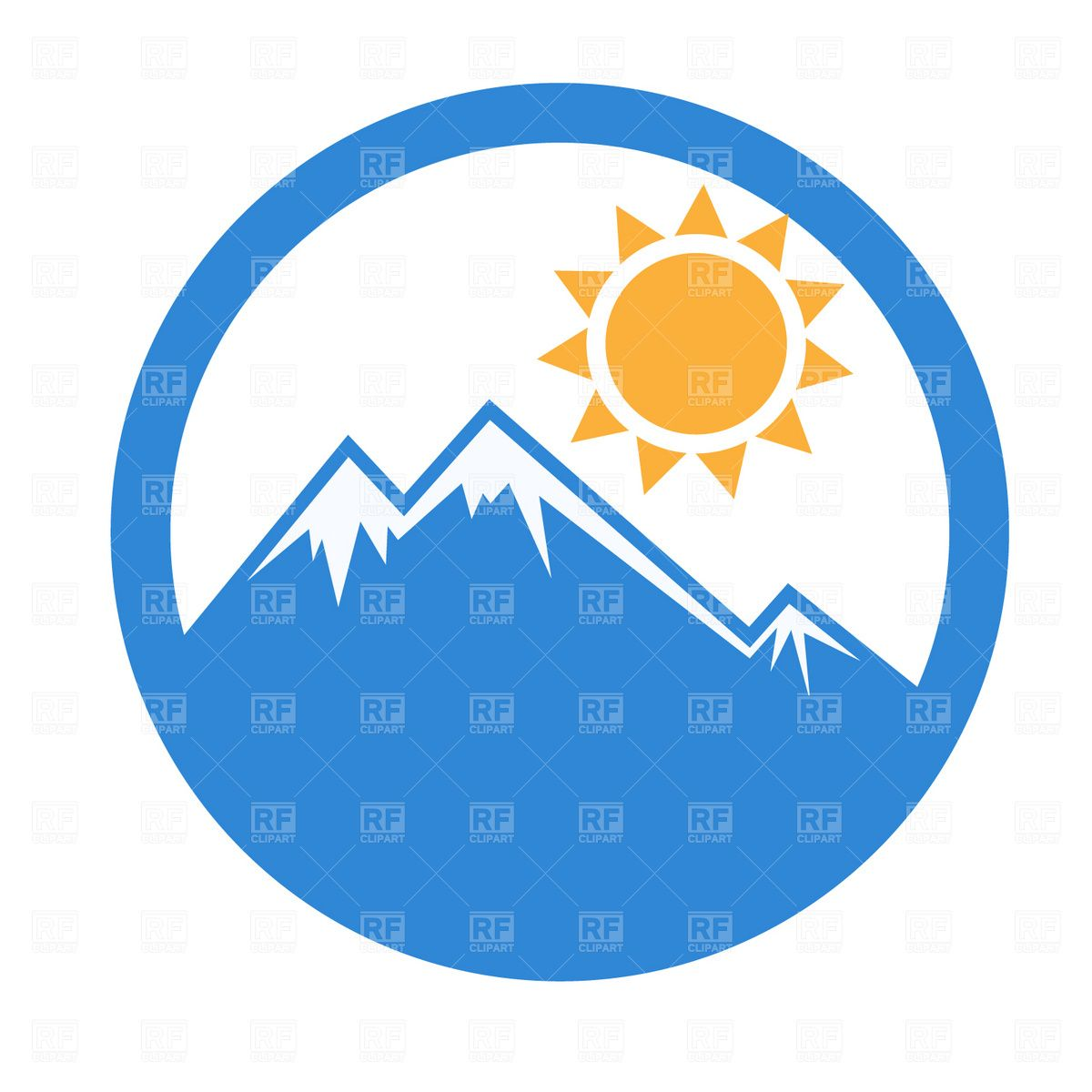 Emblem mountain and sun Stock Vector Image.