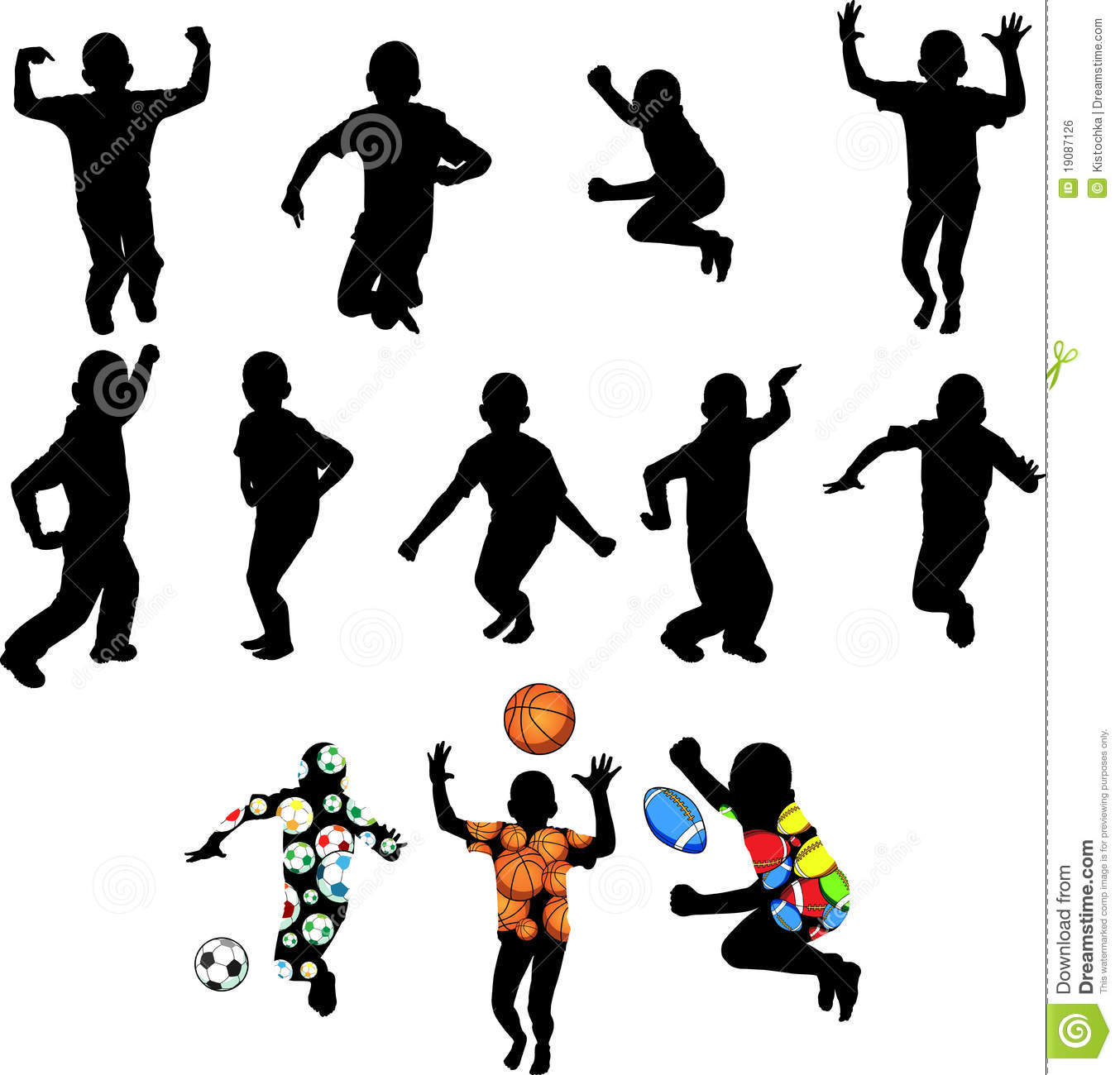 Silhouettes Of Children In Movement Royalty Free Stock Image.