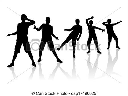 Clip Art of Silhouettes in movement.