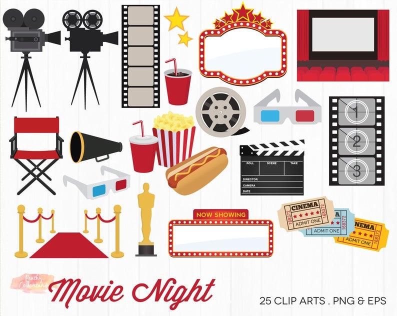 BUY 2 GET 1 FREE Movie Night Clipart.