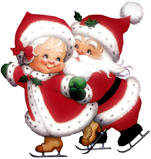 Transparent Cute Mrs Claus and Mr Claus PNG Clipart.