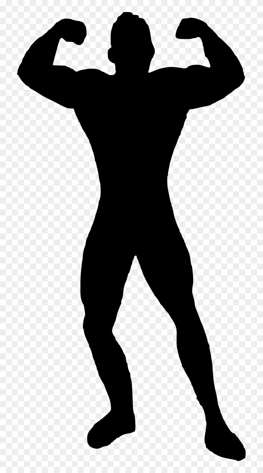 Muscle Man Bodybuilder Silhouette.