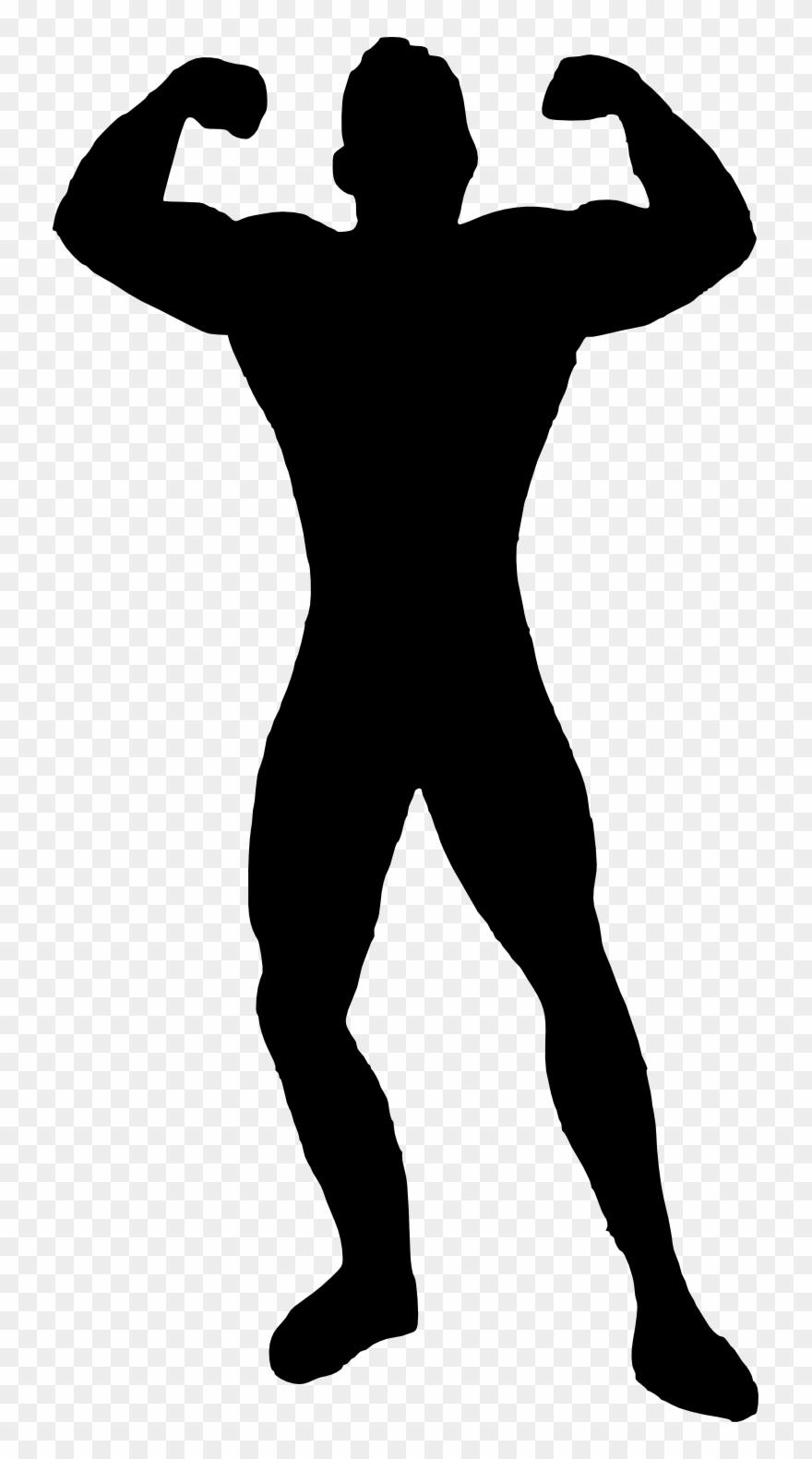 Muscle Man Bodybuilder Silhouette.