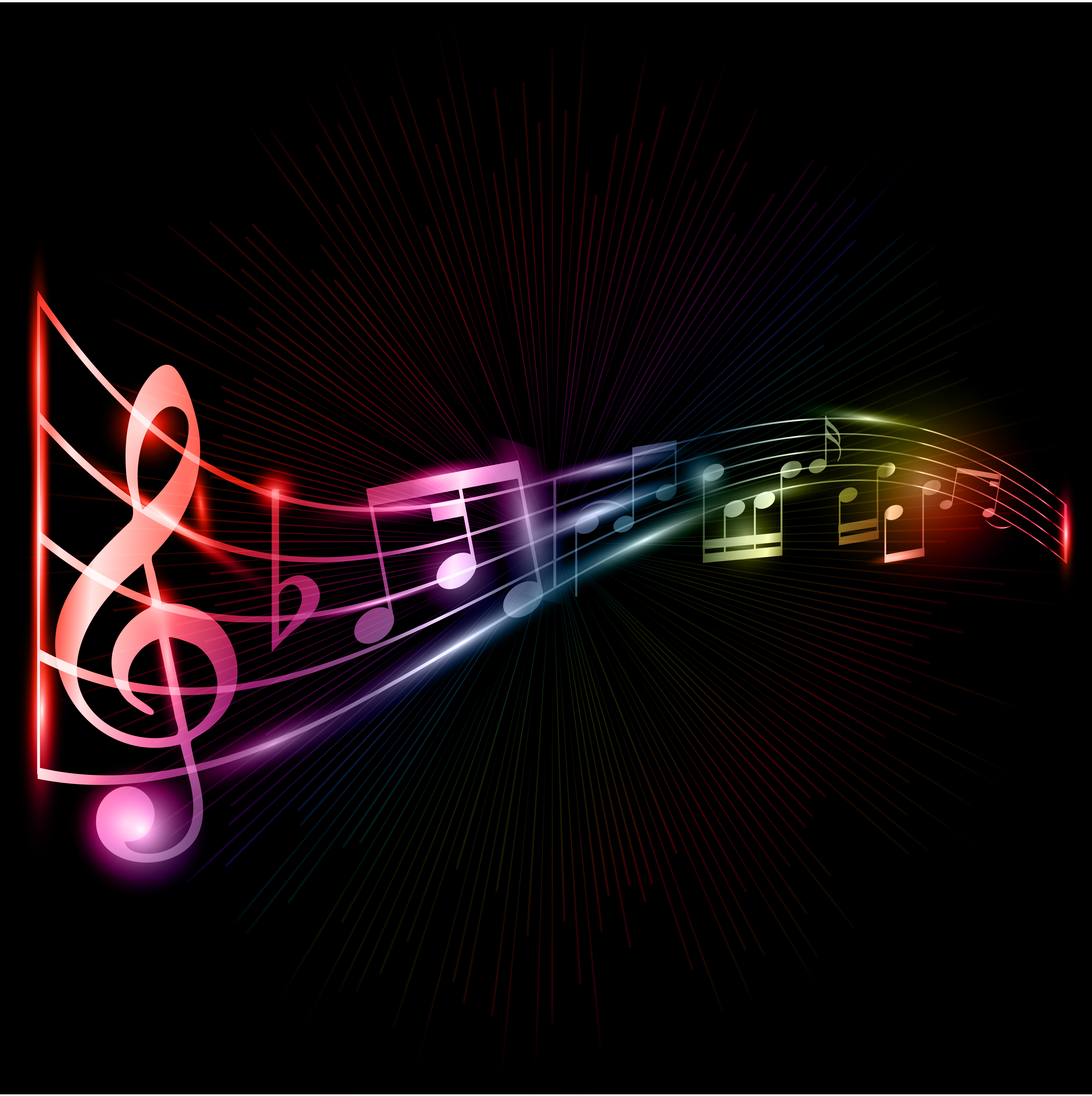 Neon Musical Notes Background.