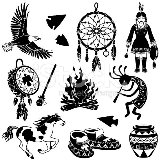 Vector illustrations with a native American theme. Bald eagle.