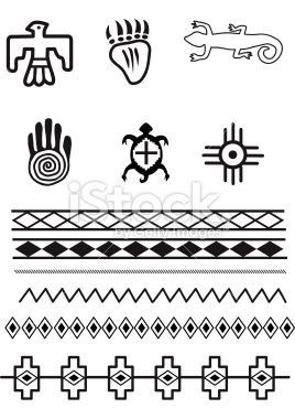 Native American symbols and patterns, Original illustrations.