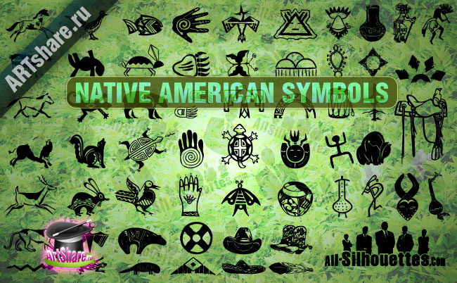 Native American Symbols Clipart Graphic.
