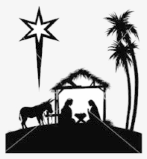 Free Nativity Black And White Clip Art with No Background.