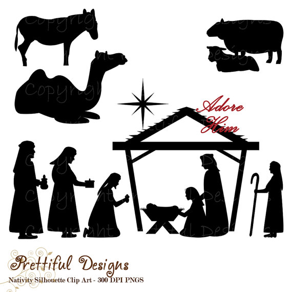 Christmas Nativity Silhouette Clip Art for Commercial Use.