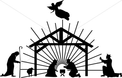 Nativity Scene Clipart Black White.