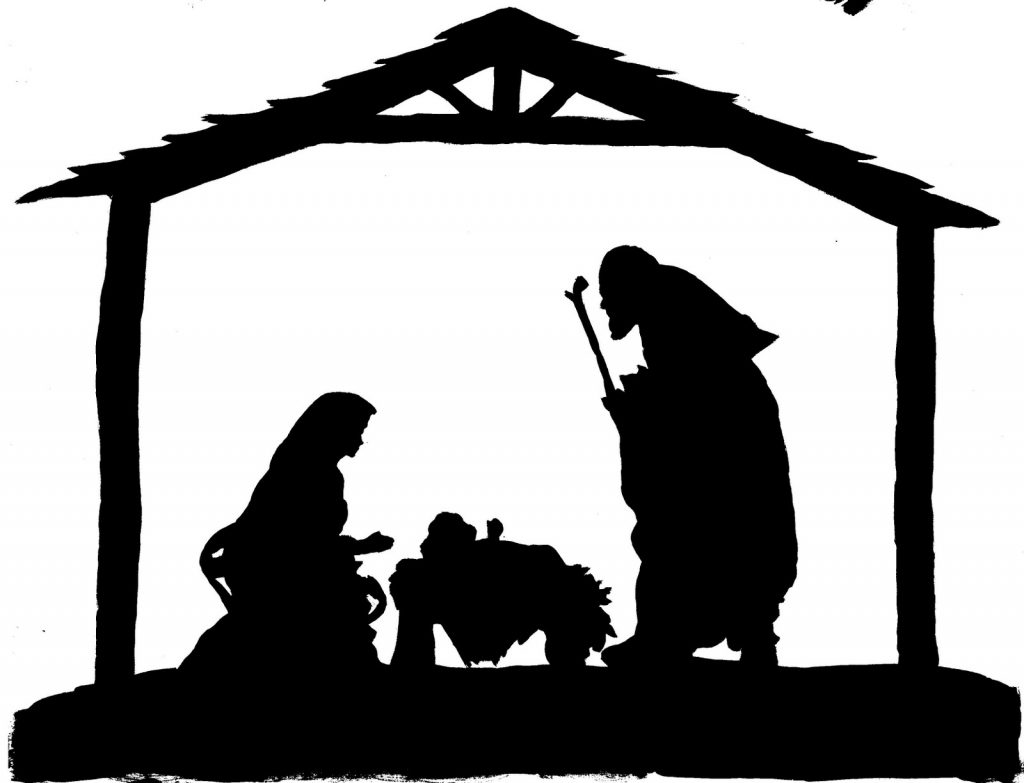 Nativity Scene Black And White Clipart.