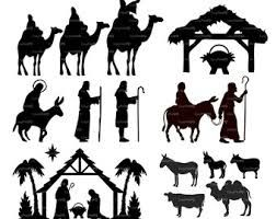 COMMERCIAL USE Nativity Christ silhouette Overlays (eps, svg.
