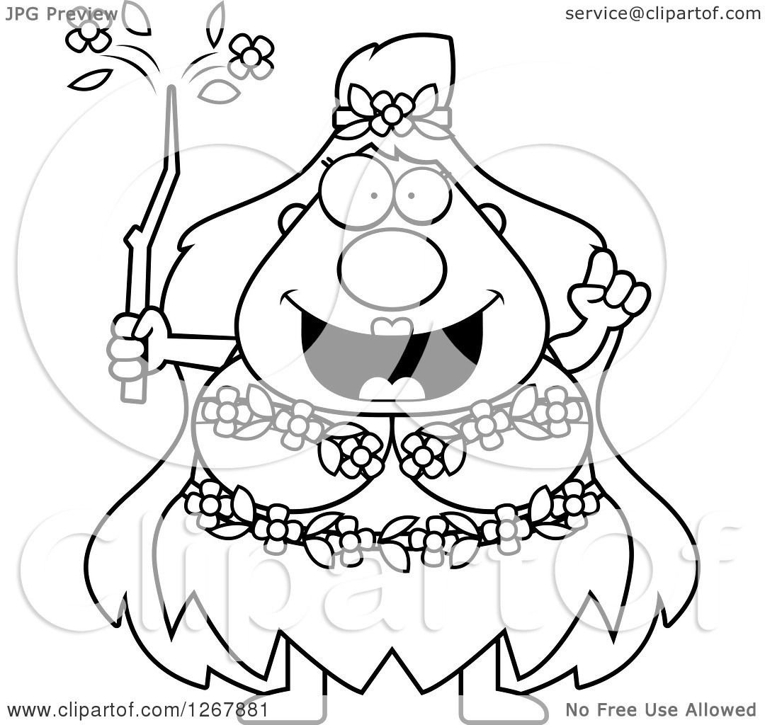 Clipart of a Black and White Smart Chubby Mother Nature or Hippie.