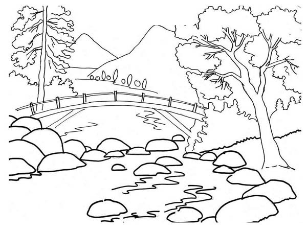 River bank clipart black and white.