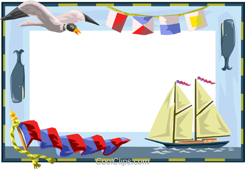 nautical border Royalty Free Vector Clip Art illustration.