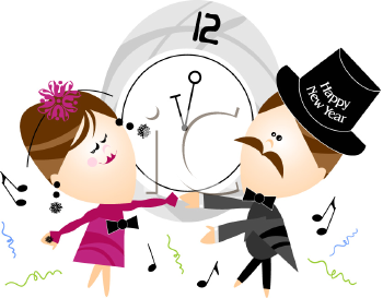 Happy New Year Couple Dancing Clipart Illustration.