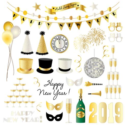 new years eve 2019 clipart Vector.
