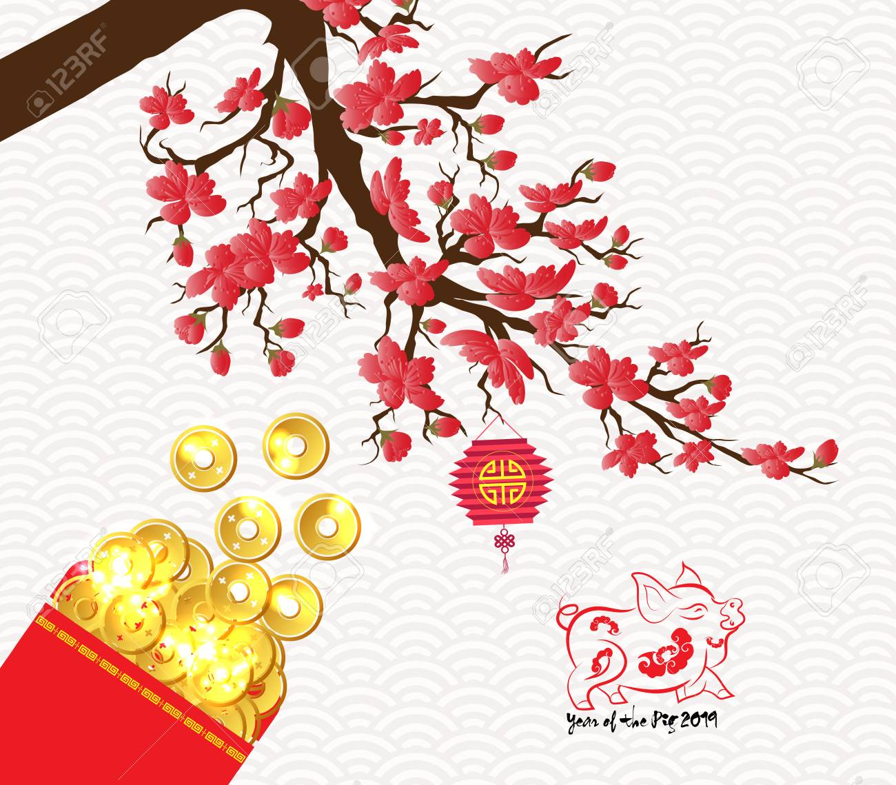 Chinese new year 2019 plum blossom red packet.