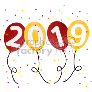 2019 new year party balloons vector art clipart. Royalty.